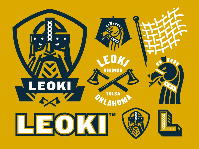 Branding leoki viking sports football soccer graphic system logo brand