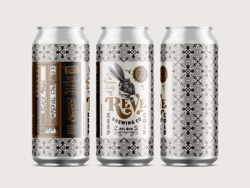 Reve brewing craft beer crowler label design kendrickkidd