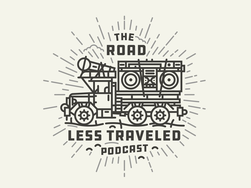 Podcast monoline illustraion podcast the road less traveled dusty nomad