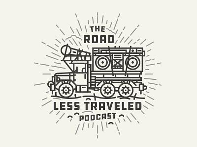 Podcast monoline illustraion podcast the road less traveled dusty nomad