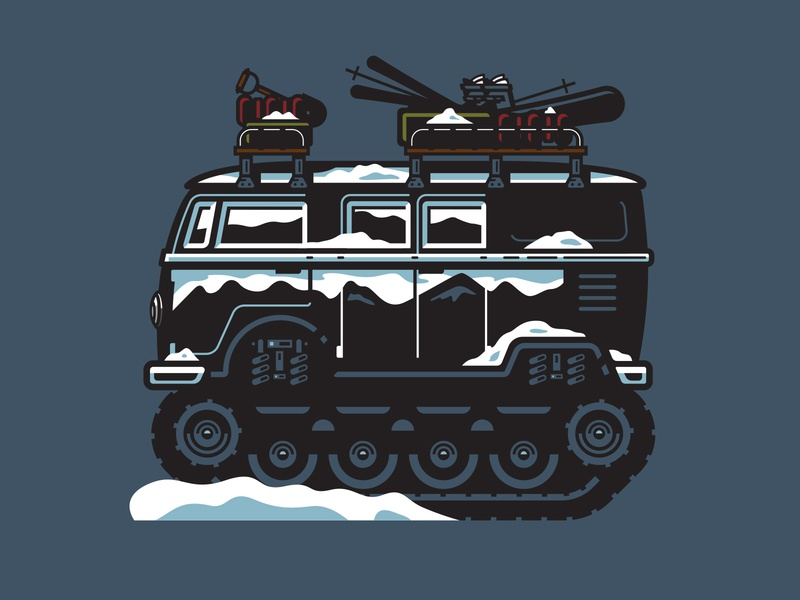 Illustration snow micro bus illustration