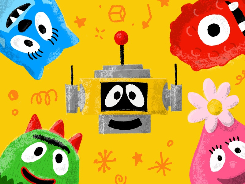 Illustration entertainment kids show yo gabba gabba test illustration