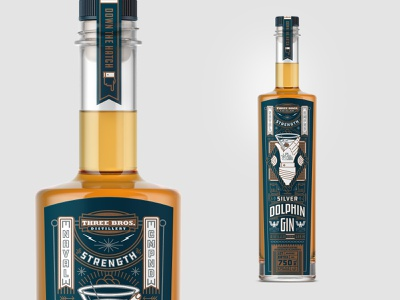 Packaging silver dolphin whiskey business packaging gin