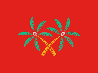 Illustration beer palm trees tiki illustration
