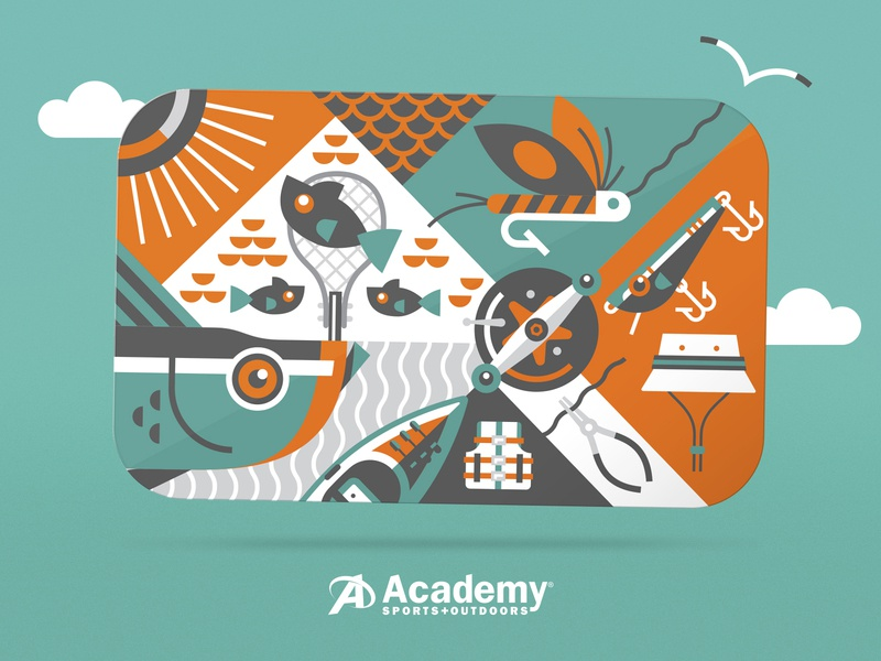 Illustration outdoors sports fishing gift card retail academy