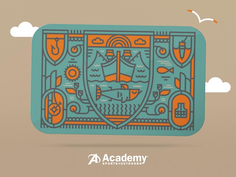 Illustration II academy gift card fishing illustration