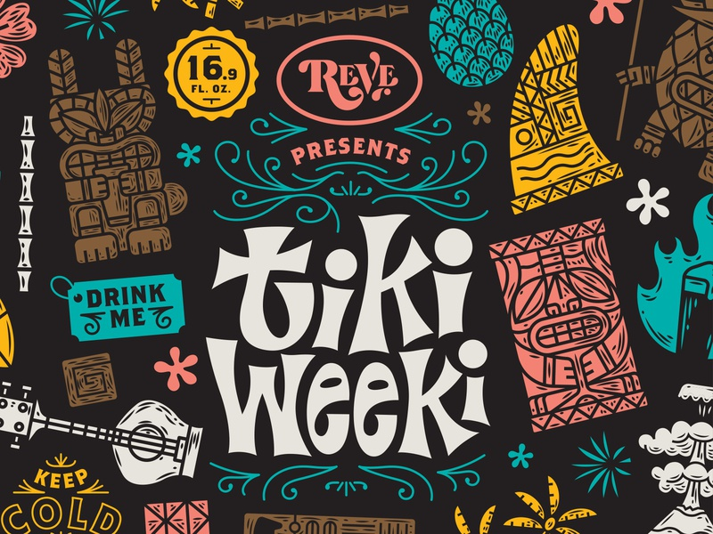 Illustration pacaking beer reve brewing tiki weeki