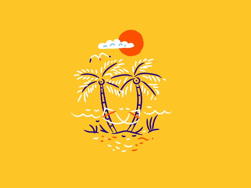 Illustration beach true respite beer assets illustration