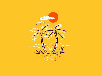 Illustration beach true respite beer assets illustration