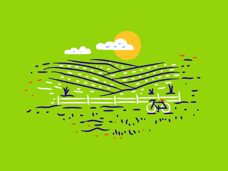 Illustration III true respite beer illustration field landscape bike illustrator
