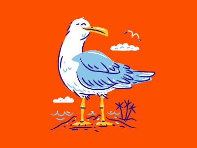 Illustration IV palms shepherd beach seagull illustration
