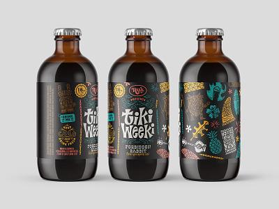 Packaging label packaging bottle beer reve brewing tiki weeki