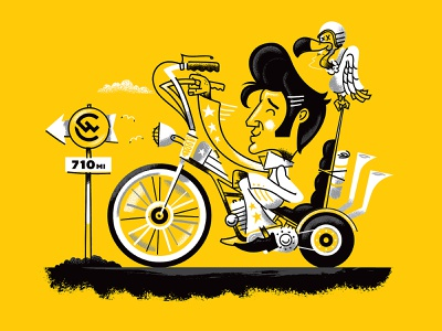 Illustration memphis elvis character illustration