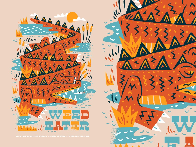 AIGA Design + Music Festival alligator poster weed eater illustration