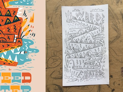 AIGA Design + Music Festival alligator poster weed eater illustration