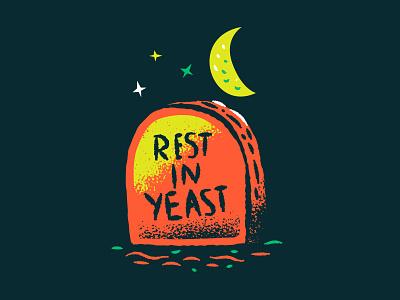Illustration tombstone halloween beer reve