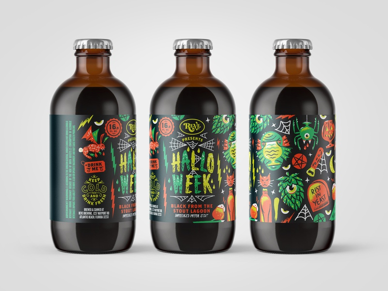 Packaging pattern halloween bottle halloweek reve brewing beer packaging