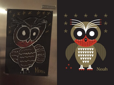 Illustraion owl colab father and son