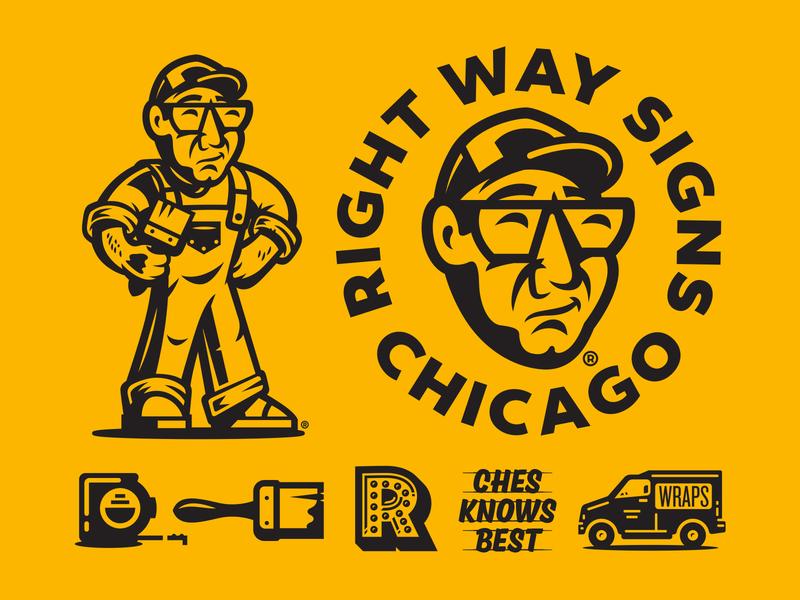 Right Way Signs illustration logo branding graphic system