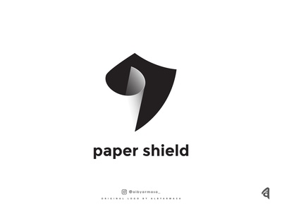 paper shield logo paper logo logos gradient color shadow type shield logo paper vector design brand design proffesional logotype illustration branding logo design beautiful brand logo