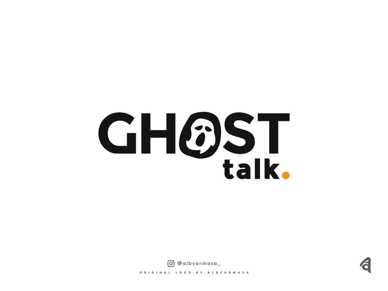 ghost talk logo mockup radio horror scream awesome logo media message podcast podcast logo chat talk ghost vector unique logotype proffesional simple logo illustration brand logo