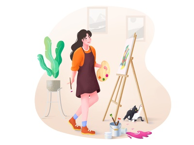 Painting character procreate website girl landscape sketch flat illustrator