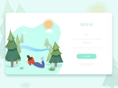 LOGIN flat web ui illustrator login