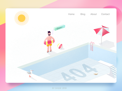 404 Page website ui page sun man flat error pool 404