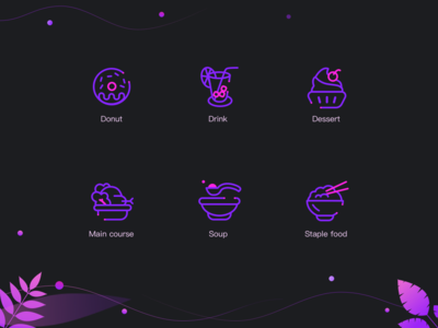 Icons dessert donut soup drink flat app sketch icon
