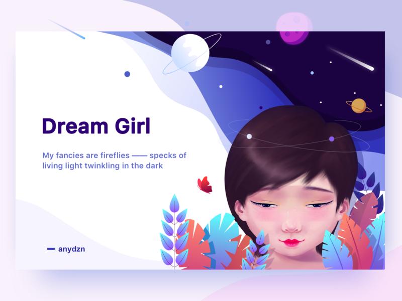 Dream Girl web girl landscape sketch ui