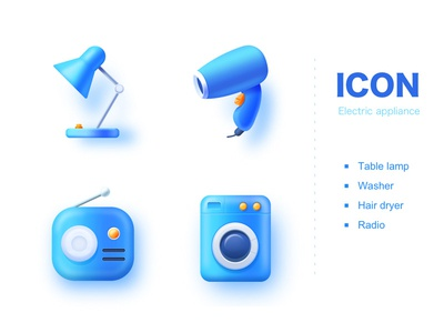 Icons table lamp washer radio electric icon