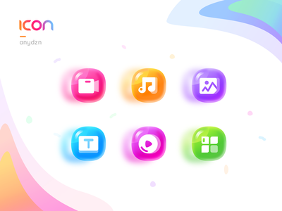 ICON__Candy Colors glass gradient font picture video music candy sketch icon