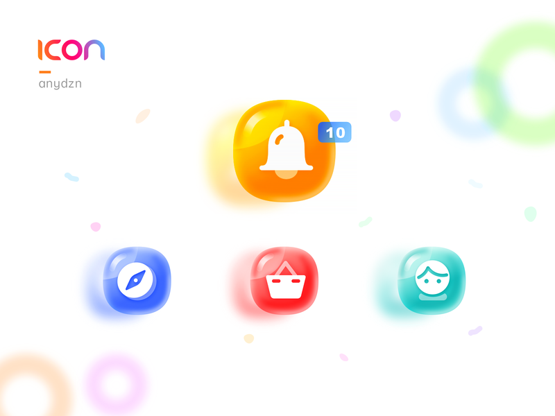 Icon__Candy Colors gradient shopping basket discovery users message candy app sketch icon