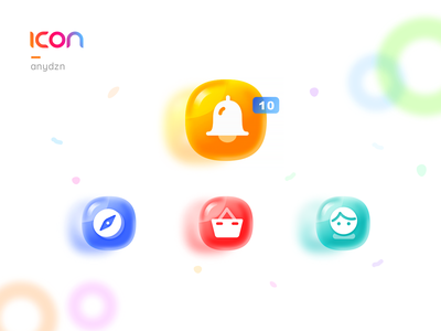 Icon__Candy Colors flat illustrator gradients glass gradient shopping basket discovery users message candy app sketch icon