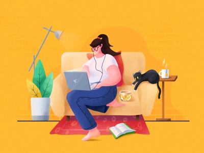 Weekend procreate color phone flat ui cat girl website landscape app illustrator