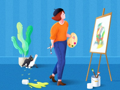 Painter procreate character design character draw plant cat girl website flat landscape app illustrator