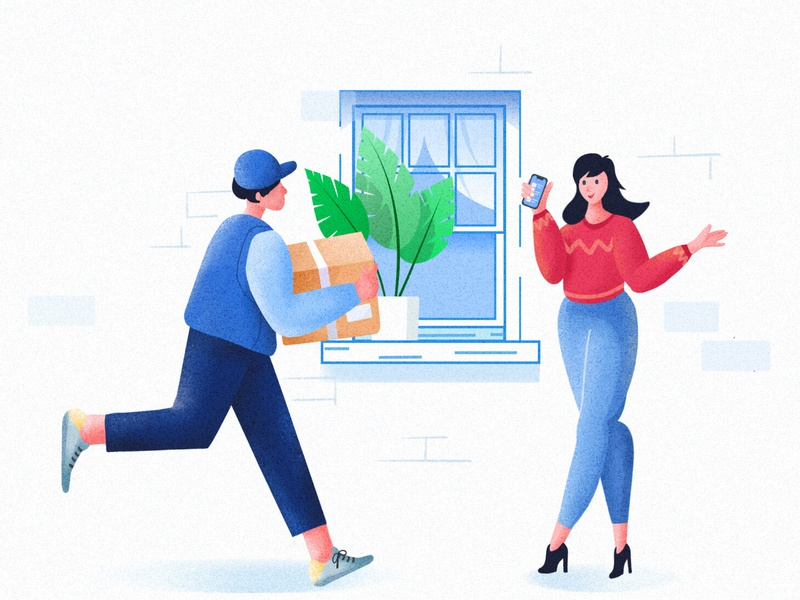 Express procreate character app phone website box window plant boy girl ui flat landscape illustrator
