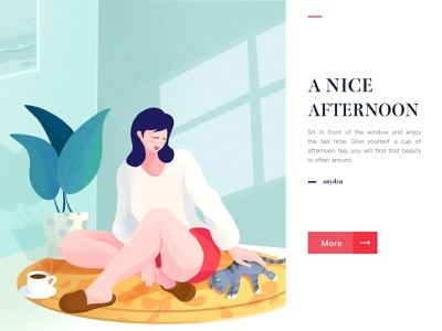 Nice Afternoon character procreate cat girl website ui flat landscape illustrator