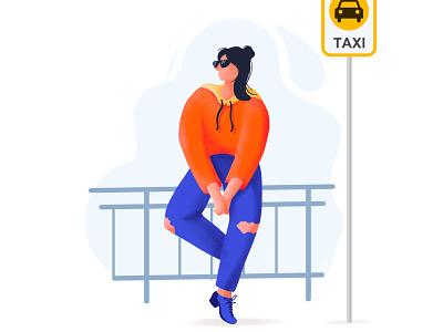 Waitting taxi procreate website girl app flat illustrator landscape