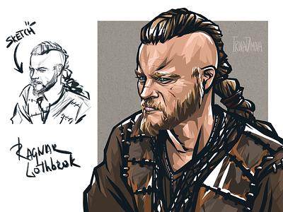 Viking digital art men portrait portrait portrait art men illustration king ragnar illustration movie character character design character vikings art viking
