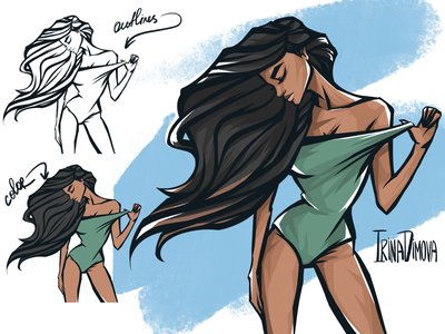 Bikini Girl Illustration beach style animation model look body illustration fresh summer art summer bikini girl animation drawing illustration character design character