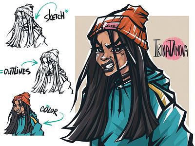 Grumpy Street Girl character animation character concept girl illustration game illustration character illustration animation digital art character design character illustration