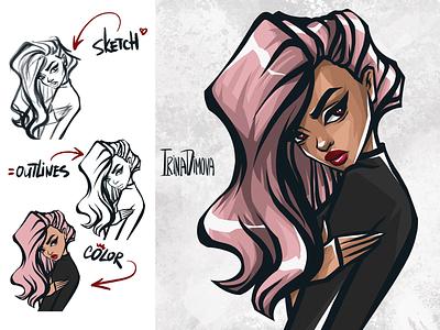 Girl In Animation style red lips pink hair girl illustration game illustration digital art character concept character design character animation