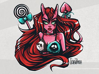 Pink Devil Girl sticker drawing fantasy art fantasy illustretion digital art pink character art character design character devil