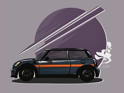 Mini illustration car drawing sticker art stickers artwork art mini cooper car illustration car design illustration digital art