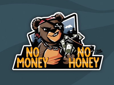 No Money No Honey Logo Design bear illustration bear logo design logotype digital art logo design sticker character illustration