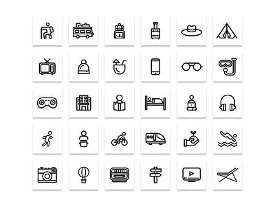 Holiday icons set website web vector ux ui minimal logo illustrator illustration icon graphic design flat design clean branding art app