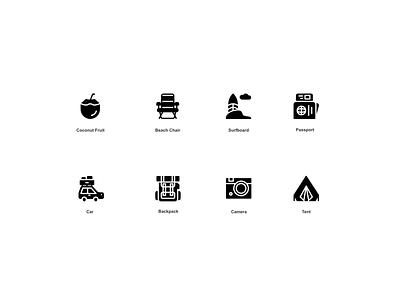 Holiday & Travel Icon set ( preview ) website mobile ux ui interface illustrator illustration web vector minimal logo icon graphic design flat clean design branding app
