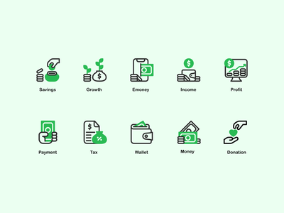 Finance Icon set green art clean ux web finance minimal website vector ui logo illustration icon graphic design flat design branding app