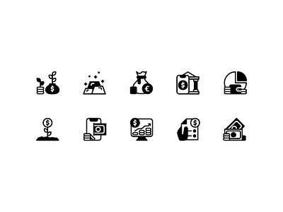 Finance Icon set illustrator icon set mobile website minimal finance web ux clean art ui vector logo flat illustration icon graphic design design branding app